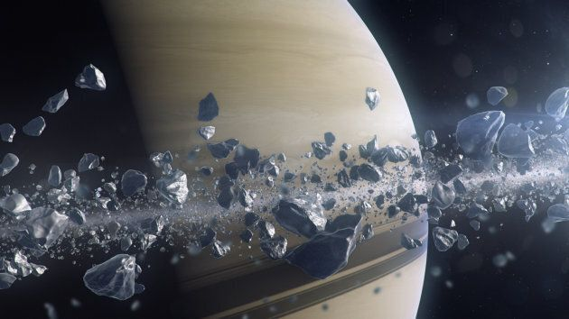 The icy rocky particles that make up Saturn's rings.
