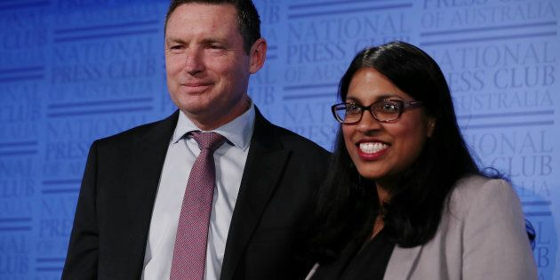 Lyle Shelton, Managing Director of the Australian Christian Lobby and Karina Okotel, Vice President of...