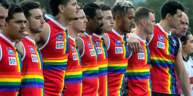 St Kilda City players before the Pride Round match on August