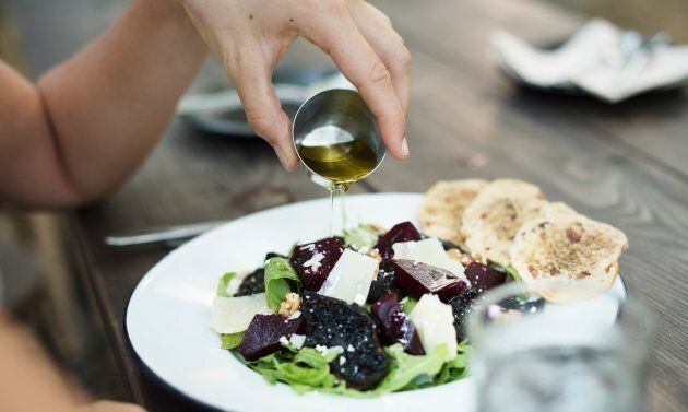 Olive oil makes a simple but tasty dressing.