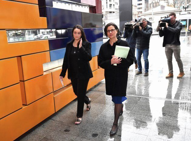 Shonica Guy (left) with lawyer Jennifer Kanis arriving at the Federal Court of Australia.