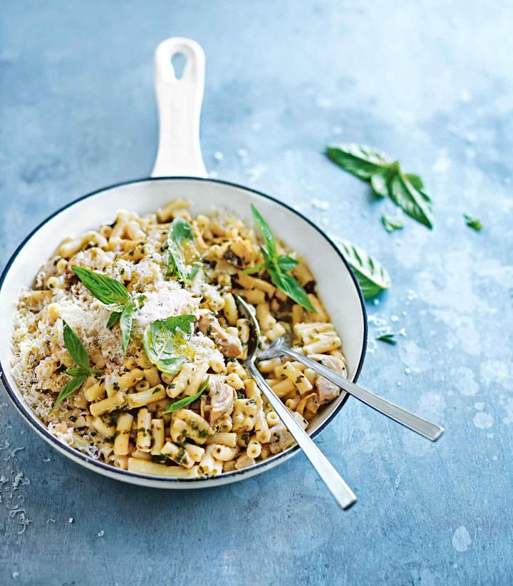 Flavour packed pesto and marinated artichokes give this classic a fresh spin.