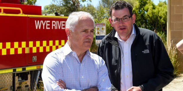 Malcolm Turnbull and Daniel Andrews at Wye River, after December bushfires in