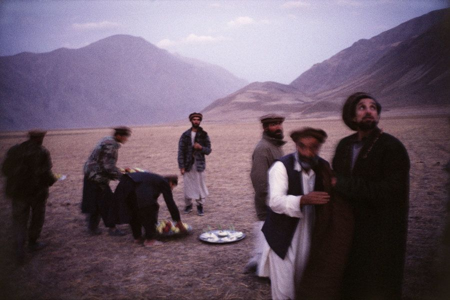 Massoud with close friends after an early evening prayer service, Feyzabad, 1998.