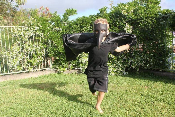 Chase Vandekreeke as a Halloween swooping magpie. Very, very Australian.