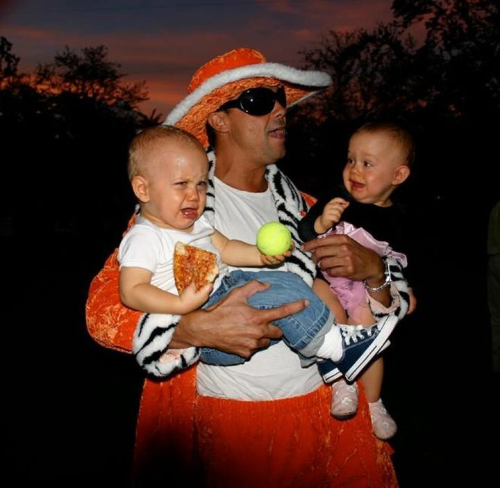 The Vandekreeke twins' favourite uncle dressed for Halloween as a 'Mack Daddy Pimp' and took his niece & nephew to the streets.