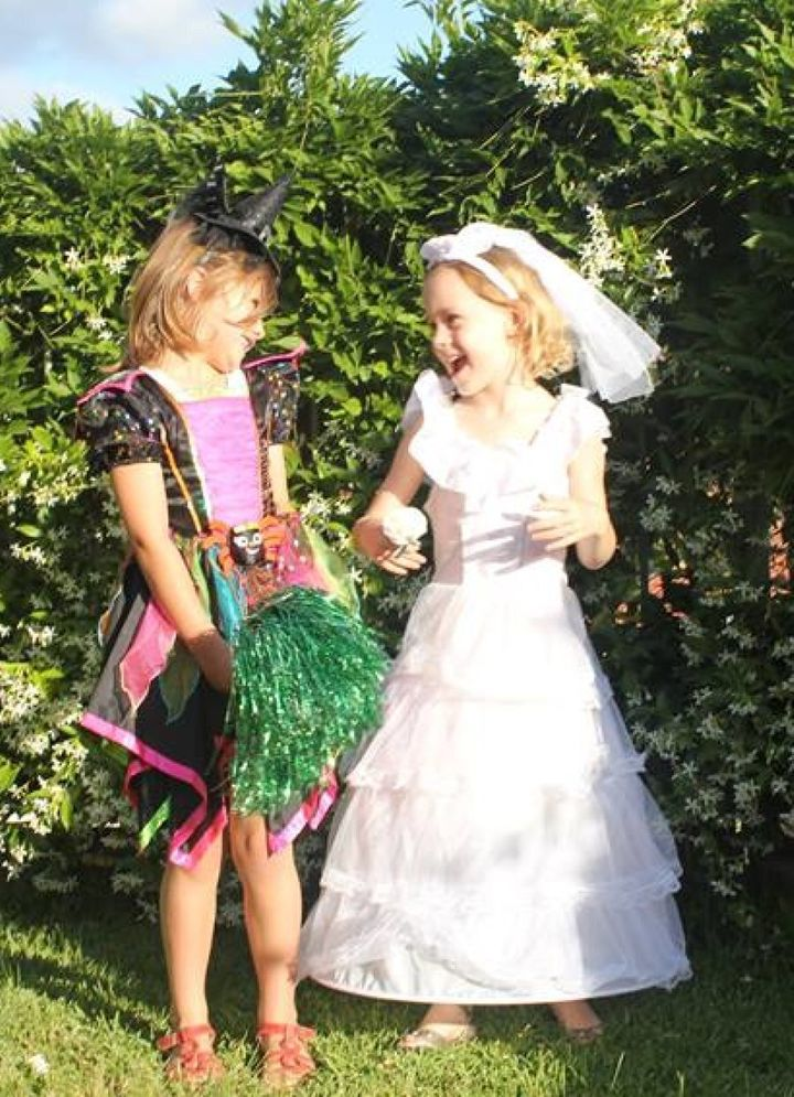 Phoebe Vandekreeke, with a friend, decided to use the occasion of Halloween to dress as a bride.