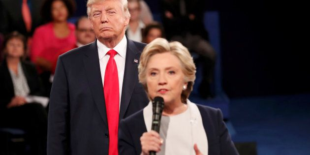 Donald Trump and Hillary Clinton at the presidential town hall debate in Missouri on October