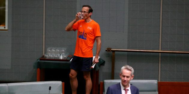 Shadow Assistant Treasurer Andrew Leigh arrives in running gear for a division on the Plebiscite
