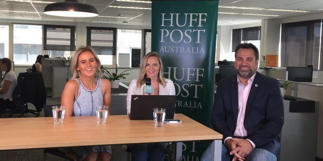 Lifeline Ambassador Dara Hayes and Lifeline CEO Peter Shmigel do a Facebook Live broadcast with HuffPost...