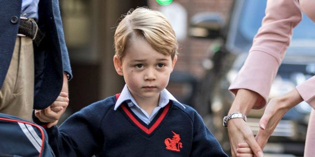 Prince George arrives for his first day of school, September 7, 2017. (REUTERS/Richard