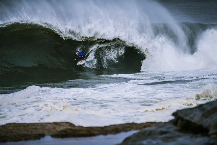 Evan Faulks on a wave.