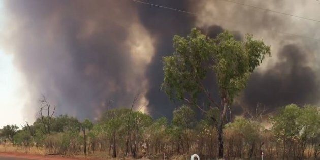 The fire is threatening homes and properties.