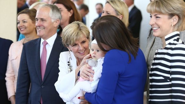 Julie Bishop and Kelly O'Dwyer have an moment with O'Dwyer's daughter, Olivia, as Turnbull's cabinet...