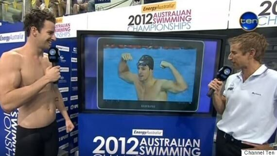 The old arrogant James Magnussen after winning the 100m at the 2012 London Olympic trials.