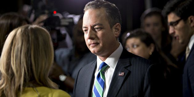 Reince Priebus, chairman of the Republican National Committee, speaks to the media following the vice presidential debate at Longwood University in Farmville, Virginia, U.S., on Tuesday, Oct. 4, 2016. Indiana Governor Mike Pence and Virginia Senator Tim Kaine arrive at tonight's debate with three main assignments: defend their bosses from attack, try to land a few blows, and avoid any mistakes showing them unfit to be president. Photographer: Daniel Acker/Bloomberg via Getty Images