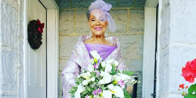 Millie Taylor-Morrison, who was a model in the 1950s, designed the wedding dress herself. Designer Marco Hall brought her vision to life, andTanika Greentook care of the makeup.
