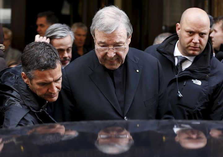 Cardinal George Pell leaves at the end of a meeting with the victims of sex abuse, at the Quirinale hotel in Rome, Italy, March 3, 2016.