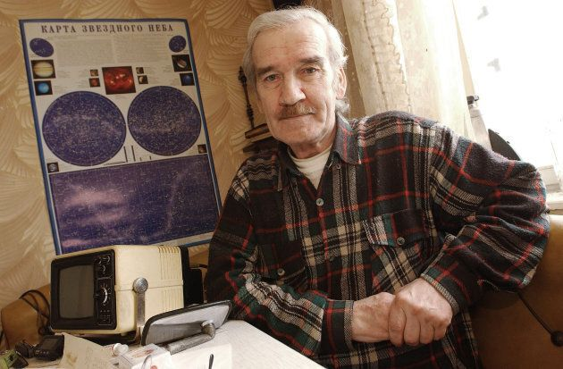 Former Soviet Colonel Stanislav Petrov sits at home in Moscow in 2004. Petrov was in charge of Soviet...