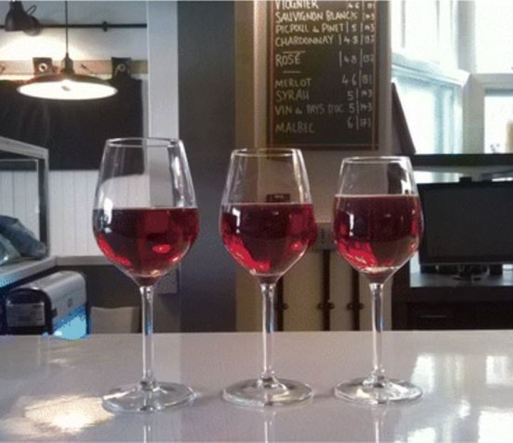 The three sizes of wine glasses that were used in the study - 370mL, 300mL and 250mL.
