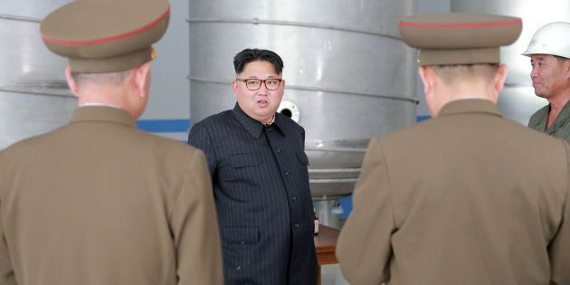 North Korean leader Kim Jong Un visits the construction site of a soap factory in this undated photo released by North Korea's Korean Central News Agency (KCNA) on June 4, 2016.