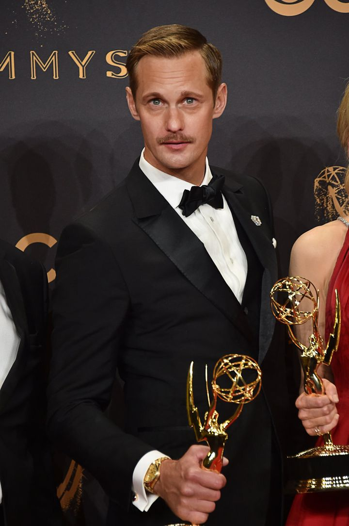 Alexander Skarsgård after winning his Emmy, looking fine as hell.