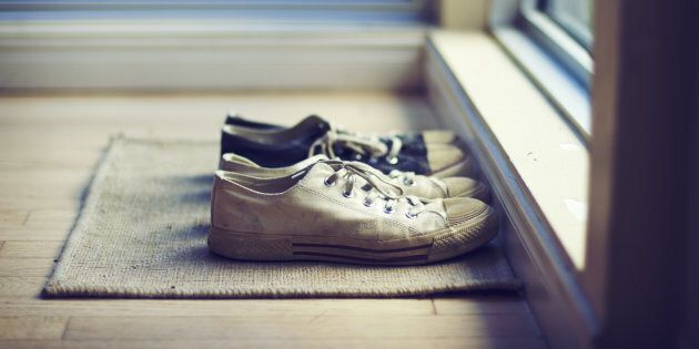 Leave your stinky shoes at the door. Outside.