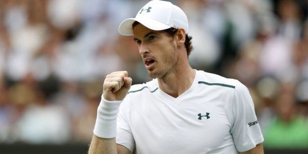 Andy Murray reacts after winning a point on the seventh day of the 2017 Wimbledon Championships on July 10.