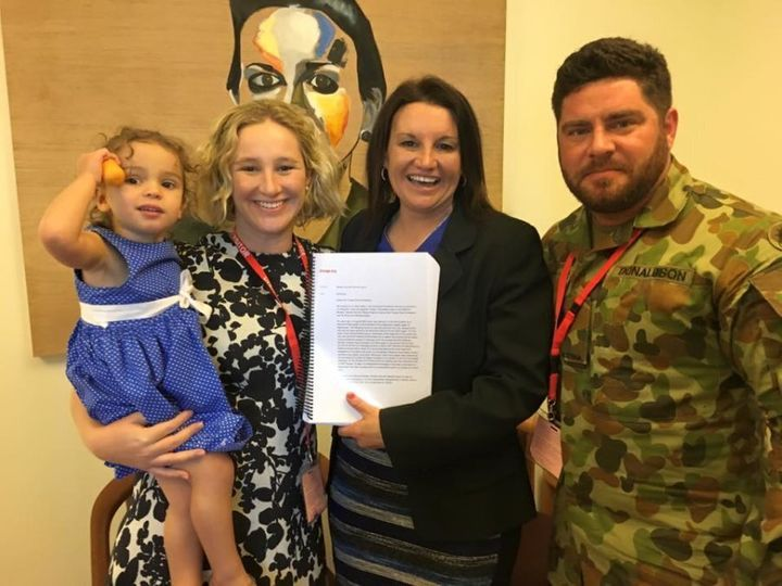 Trooper Evan Donaldson with Senator Jacqui Lambie and his family earlier this year