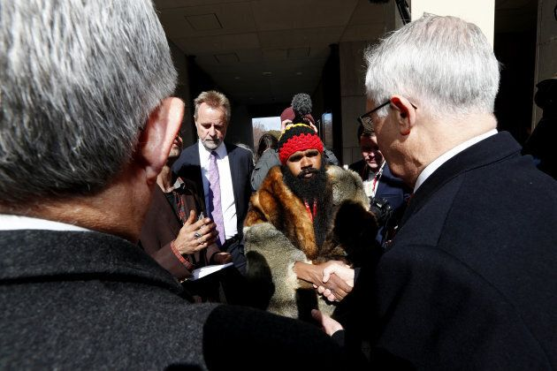 Clinton Pryor who walked across Australia from Perth to share the concerns of Aboriginal people, arrives at Parliament House in Canberra to meet with Prime Minister Malcolm Turnbull on Wednesday 6 September 2017.