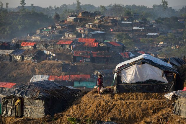 Makeshift shelters cover the hills in the overcrowded Balukhali camp in Balukhali, Cox's Bazar, Bangladesh....
