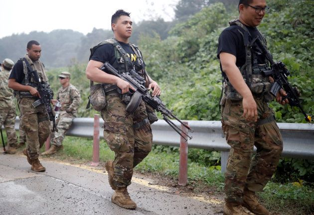 U.S. soldiers take part in a combined arms collective training exercise in Pocheon, South Korea September...