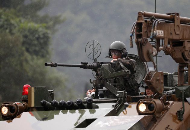 A South Korean soldier takes part in a combined arms collective training exercise in Pocheon, South Korea...