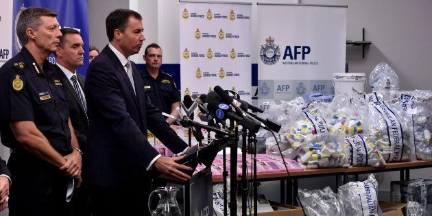 Justice Minister Michael Keenan at a press conference during a presentation of seized crystal methamphetamine...