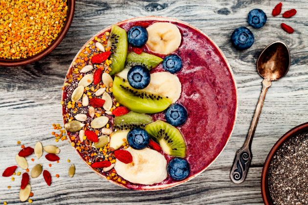 For a healthy ice cream fix, try a smoothie bowl made with frozen berries and