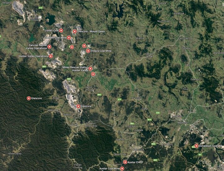 Wines and mines. This Google satellite view image shows some of the main Hunter Valley mines. The city of Newcastle is just out of shot to the right and the famous wine district around Pokolbin is near the bottom of the image.