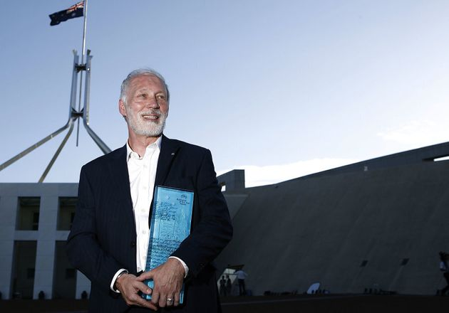 Professor Patrick McGorry accepts the Australian of the Year award in