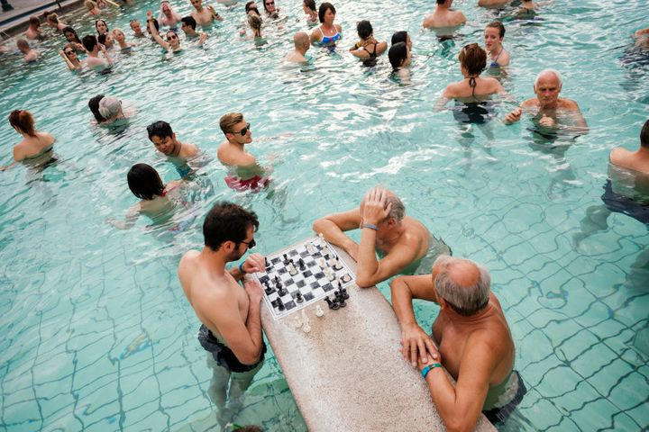 Chess in the Szechenyi Thermal Baths in Budapest.