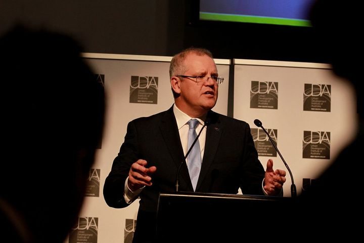 Treasurer Scott Morrison addressing the issue of booming house prices at an Urban Development Institute of Australia event in Sydney on Monday.