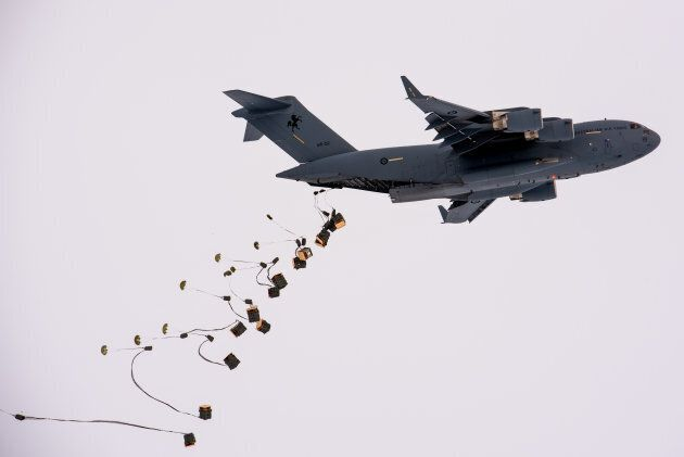 The cargo plane dropped nine tonnes of food, medicine and equipment into the remote Davis
