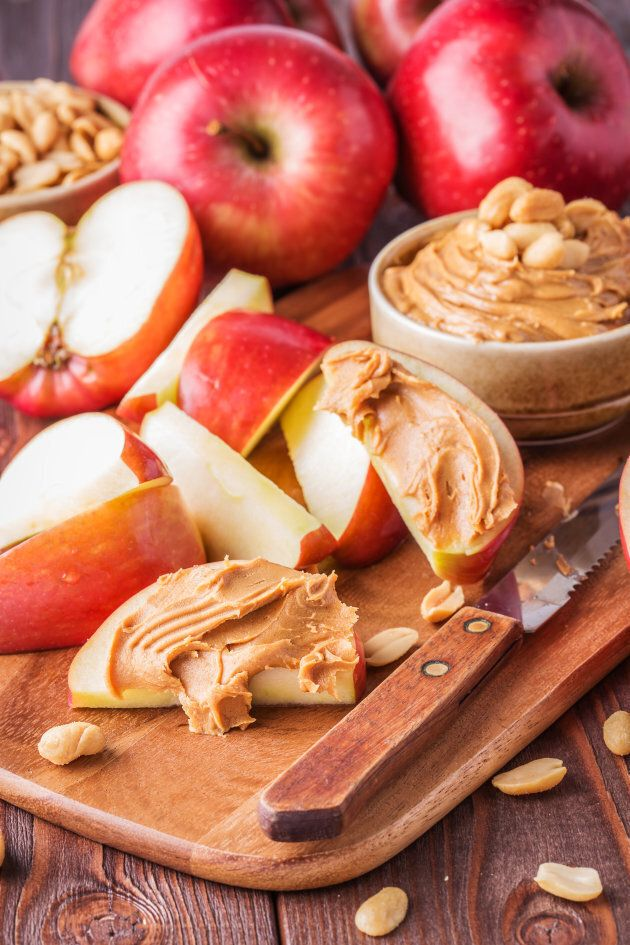 Apple slices with natural peanut butter is a