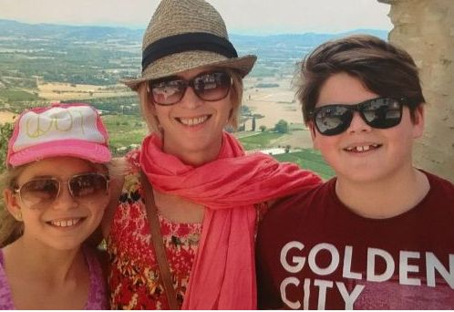 Juanita Phillips on holidays with her kids, Mischa and