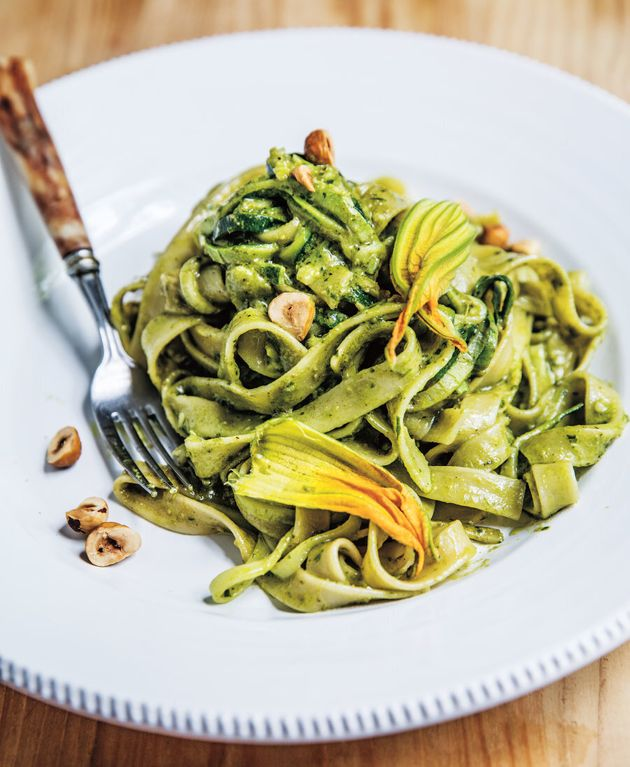 Love the idea of zoodles but love pasta even more? This dish is the best of both