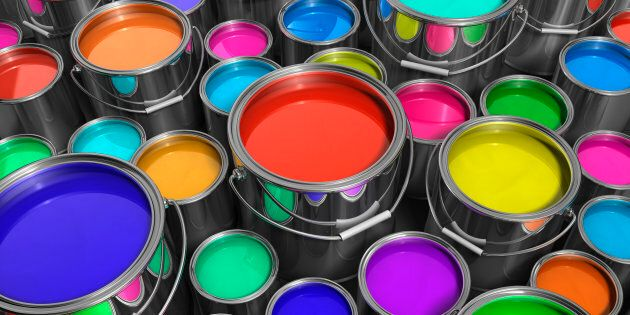 Various Paint Tins, Paint Cans, Buckets of Paint with variety of color.