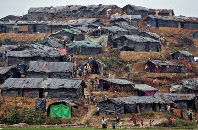 Rohingya refugees pictured in a camp in Cox's Bazar,