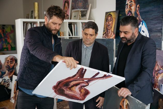 Ben Quilty with Sydney Festival Director Wesley Enoch and Campbelltown Arts Centre Director Michael