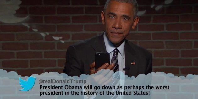 President Barack Obama reads mean tweets
