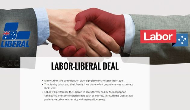 The alleged Labor-Liberal deal, from a website created by the