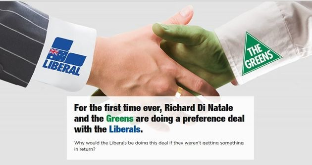 The alleged Greens-Liberal deal, from a website created by