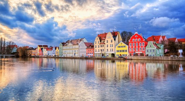 Colourful historical houses on Isar River in Landshut,